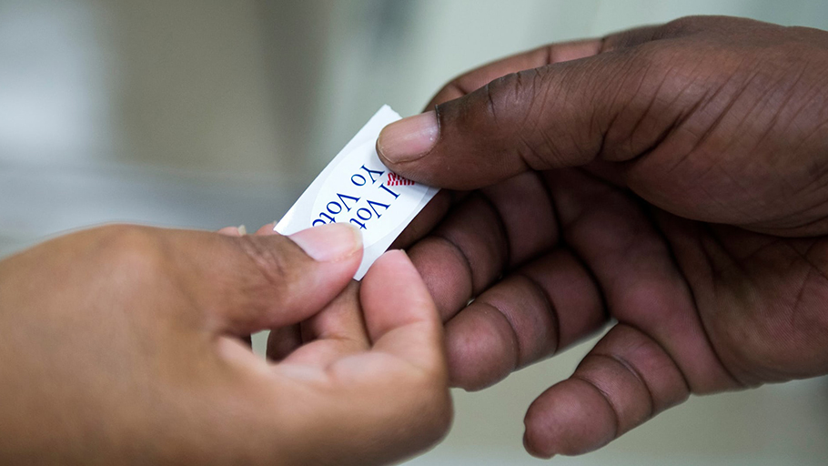 'There's another important public space where blackness has been policed: the voting booth.' Photograph: Shawn Thew/EPA