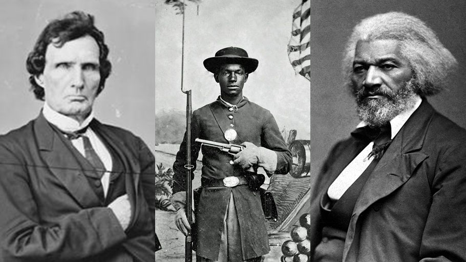 Left to right: Radical Republican Thaddeus Stevens; an African-American soldier in the Union Army; abolitionist Frederick Douglass