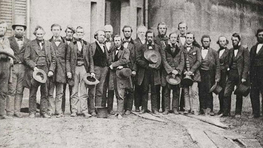 The Oberlin rescuers, with Simeon Bushnell and Charles Langston 9th and 12th from the left. Library of Congress