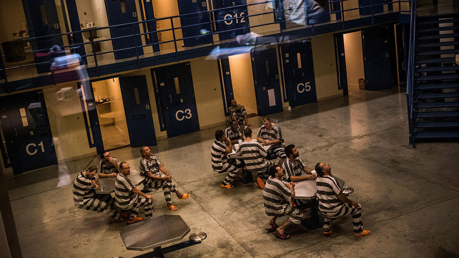 Inmates at a county jail on July 26, 2013 in Williston, North Dakota. | Photo by Andrew Burton/Getty Images