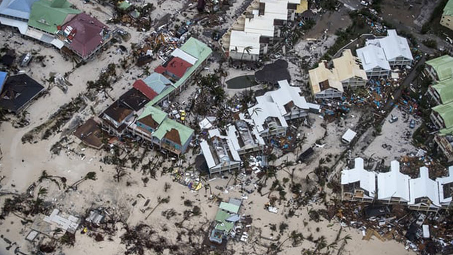 Saint Martin after Hurricane Irma. The storm strengthened to a category five and slammed into the Caribbean and US, causing more than 130 deaths in places such as Barbuda, Saint Martin, Barbados and the US. Photograph: Gerben van Es/AP