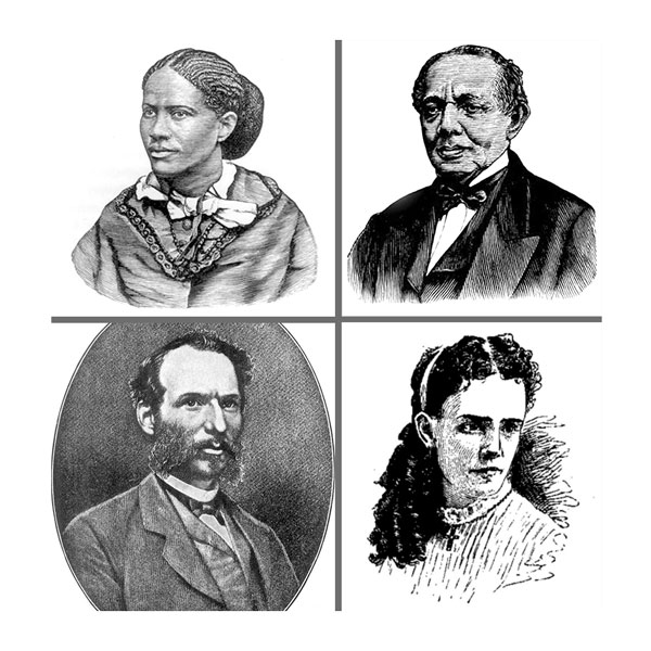 Clockwise: Frances Harper, W.J. Whipper, Augusta Lewis, and William Sylvis are a few of the people featured in the role play.