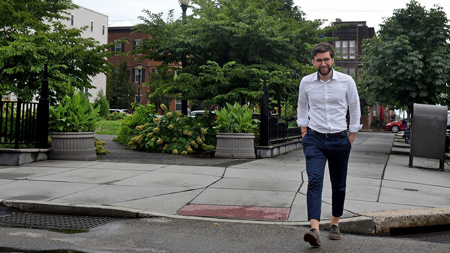 Kevin Brown, the chair of SOSNA, walks by Julian Abele Park at 22nd and Montrose Streets. It was named after the noted African American architect who lived in the neighborhood.