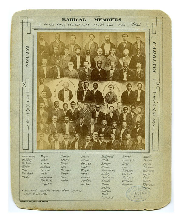Radical members of the first South Carolina legislature after the war. Click to enlarge. Source: Library of Congress.