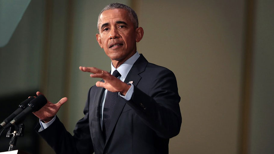 "Obama reminded his audience at the University of Illinois at Urbana-Champaign that the current troubles ""did not start with Donald Trump. He is a symptom, not the cause."