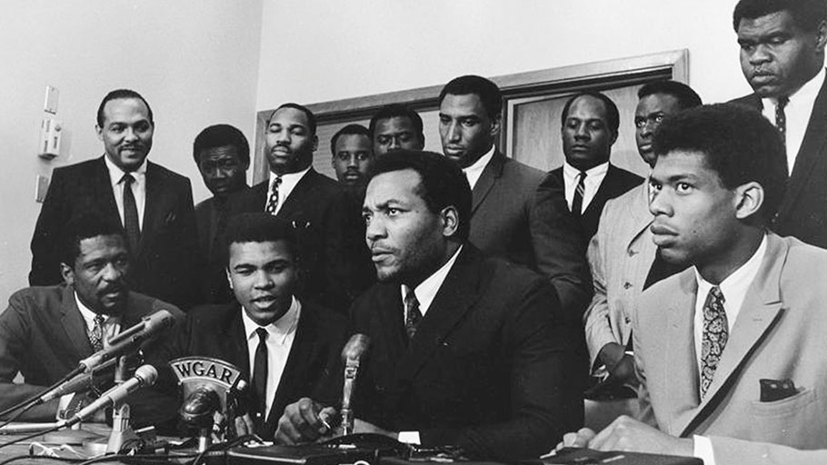 Kareem Abdul-Jabbar (far right), meets with other black athletes, including Muhammad Ali and Jim Brown to discuss, to discuss the Vietnam War in 1968.