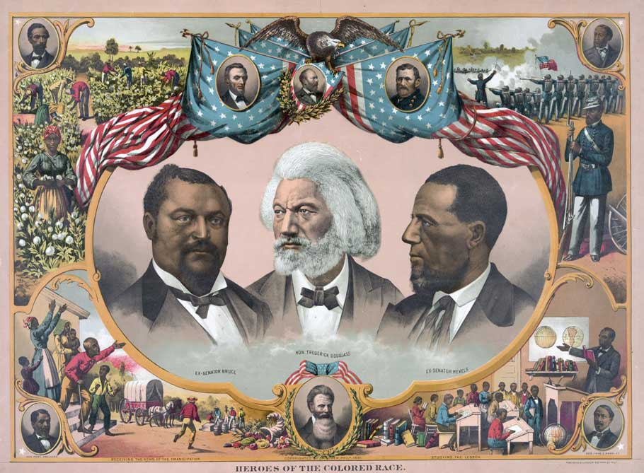 A chromolithograph, containing portraits of Douglass, Blanche Kelso Bruce and Hirah Rhoades Revels.