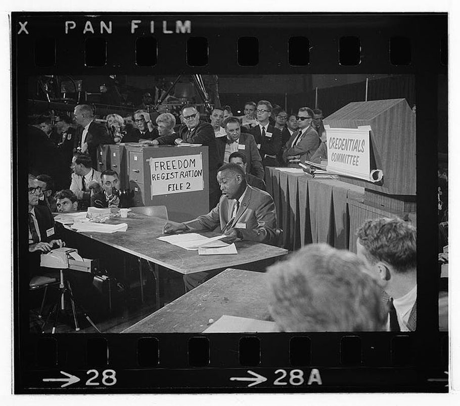 Aaron Henry, chair of the Mississippi Freedom Democratic Party delegation, speaks at the Democratic National Convention in 1964. Library of Congress/Warren K. Leffler