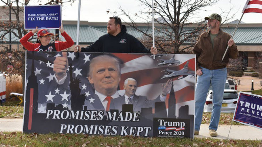 Trump supporters gathered for his tax reform speech.