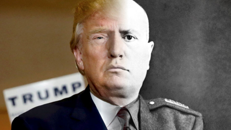 President Donald Trump blends all too nicely with Italy's fascist dictator Benito Mussiloni.