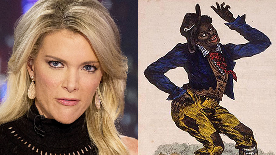 Megyn Kelly and Jim Crow, a character worn in blackface used to mock African-Americans.