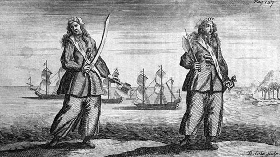 Engraving of the women pirates Ann Bonny and Mary Read by Benjamin Cole, circa 1724