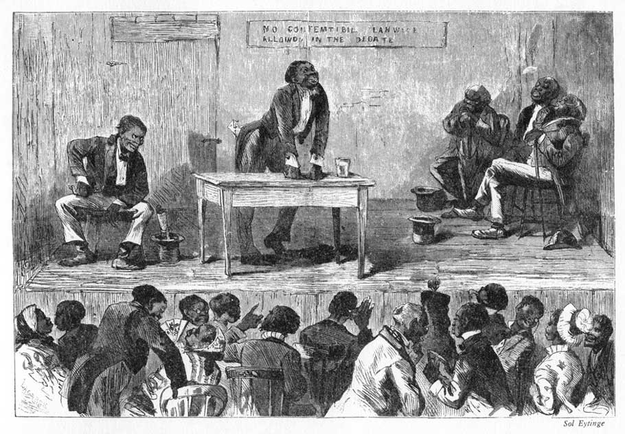 Blackville, an 1878 illustration. African-Americans are depicted in this racist caricature as illiterate and apelike. From Adventures of America, 1857–1900, by John A. Kouwenhoven.