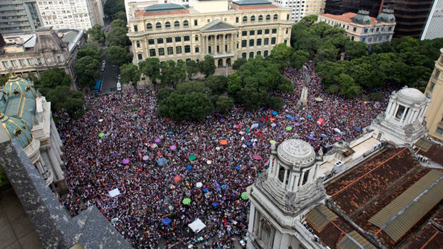 Protests in Rio de Janeiro against Jair Bolsonaro on Sept. 29, organized under the hashtag #EleNao (#NotHim).