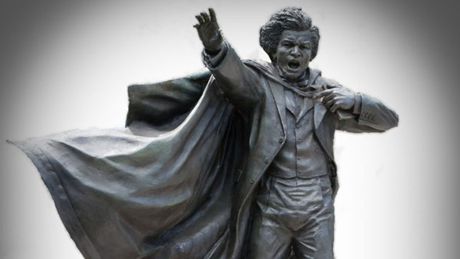 A new statue (2015) of Frederick Douglass stands in Hornbake Plaza.