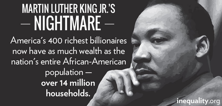 Martin Luther King Jr.'s Nightmare: America's 400 richest billionares now have as much wealth as the nation's entire African-American population - over 14 million households.