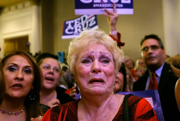 Supporters of Ted Cruz react at his midterm election night party in Houston.