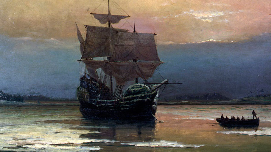 'Mayflower in Plymouth Harbor' by William Halsall (1882). Pilgrim Hall Museum