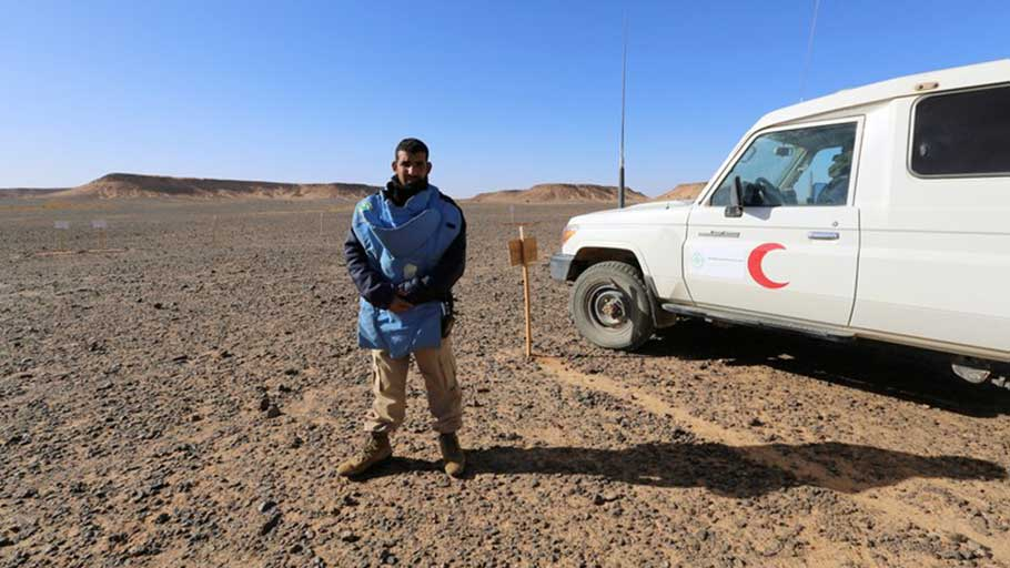 Elwali al-Abeidi, the leader of a de-mining crew, at the contaminated site of Lah'waj Telli, in Western Sahara