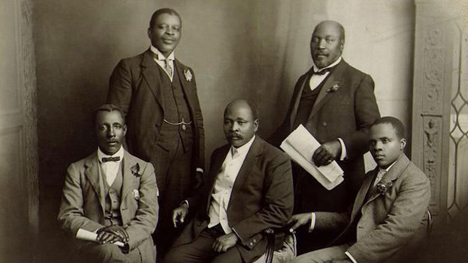 The South African Native National Congress delegation to England, June 1914. From left: Thomas Mapike, the Rev. Walter Rubusana, the Rev. John Dube, Saul Msane and Solomon Plaatje.