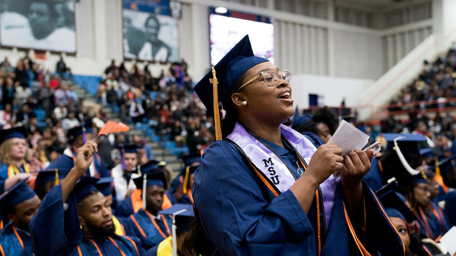 A graduating student at Morgan State University cheered Senator Elizabeth Warren, Democrat of Massachusetts, during her commencement address this month.