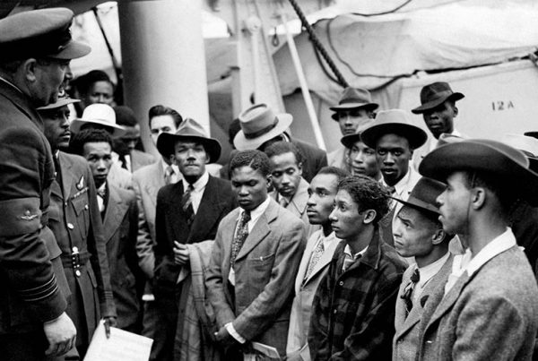 Empire Windrush migrants arrive at Tilbury in 1948.