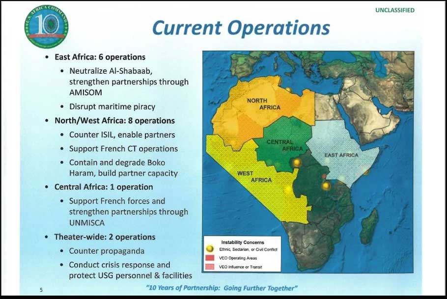 This March 2018 briefing authored by Africa Command Science Advisor Peter Teil outlines current U.S. military operations throughout the African continent.
