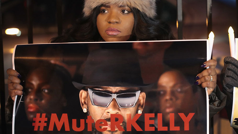 Demonstrators gathered on Wednesday near the studio of the singer R. Kelly to call for a boycott of his music.