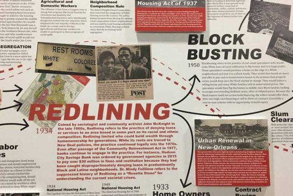 """""""Undesign the Redline,"""" an exhibit the history of redlining and other discriminatory housing policies in New Orleans and nationwide, is on view at Tulane University's Albert and Tina Small Center for Collaborative Design through March 1, 2019."""