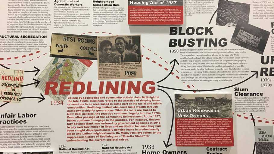 """Undesign the Redline,"" an exhibit the history of redlining and other discriminatory housing policies in New Orleans and nationwide, is on view at Tulane University's Albert and Tina Small Center for Collaborative Design through March 1, 2019."