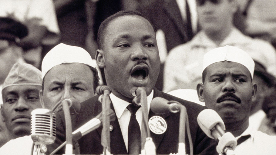 "Martin Luther King Jr. delivers his famed ""I Have Dream"" speech from the steps of the Lincoln Memorial, August 28, 1963."