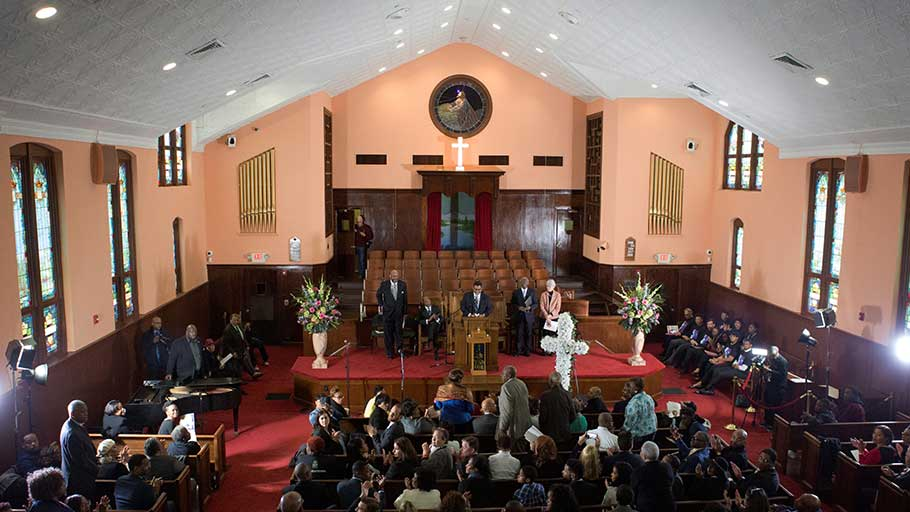 A commemorative service was held in the historic Ebenezer Baptist Church 50 years after Martin Luther King Jr.'s funeral was held there. Image by Evey Wilson