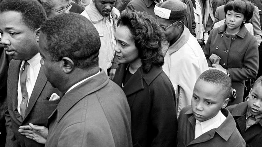 Family members and friends of the assassinated civil rights leader Dr. Martin Luther King Jr., follow his casket into an Atlanta funeral home. From left are: the Rev. A.D. Williams King; Dr. Ralph Abernathy; Coretta Scott King; and sons Martin Luther III, 10, and Dexter, 7. (AP Photo/Bill Hudson)