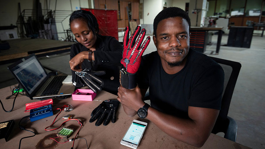Roy Allela has developed a glove that translates sign language to speech via a bluetooth-enabled smartphone. Photograph: Brett Eloff/Royal Academy of Engineering