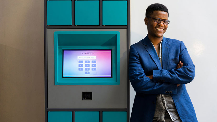 Neo Hutiri with his Pelebox smart locker, which is designed to cut down the amount of time that patients have to wait for their medication.