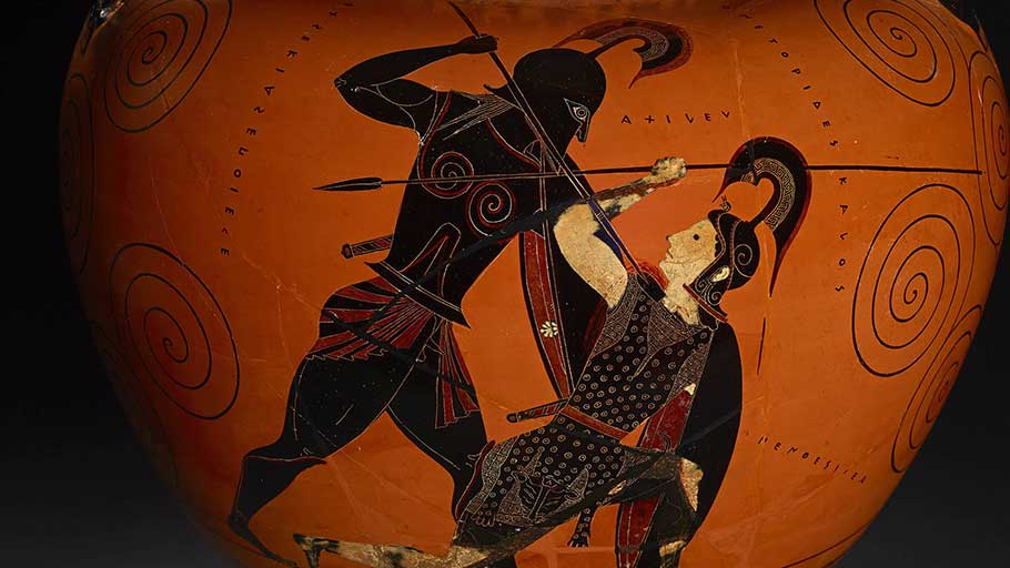 Achilles slaying Penthesilea. Detail from an amphora, 530-525 BCE.