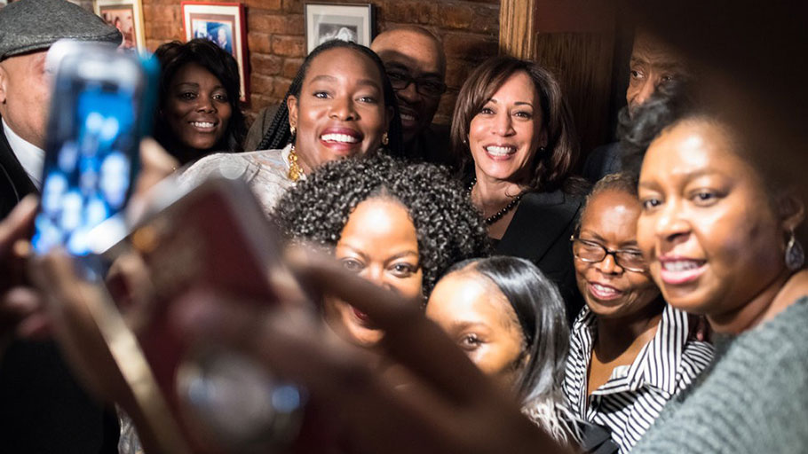 Senator Kamala Harris at Sylvia's restaurant in Harlem on Thursday. Some Democratic presidential candidates, including Ms. Harris, have expressed support for overtly race-conscious legislation.
