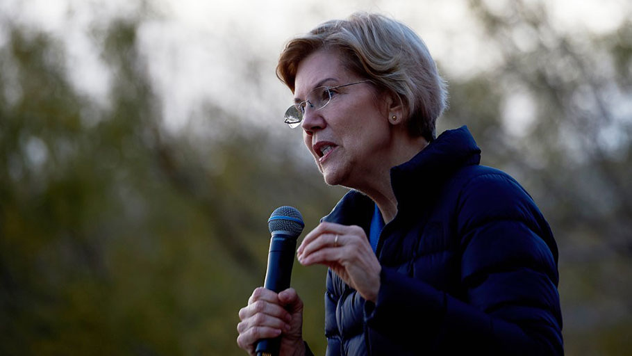 Senator Elizabeth Warren spoke in Las Vegas on Sunday. Ms. Warren said that she also supported reparations for black Americans impacted by slavery.