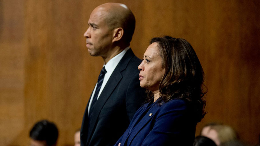 Sen. Cory Booker, left, and Sen. Kamala Harris listen during a Senate Judiciary Committee hearing in Washington, D.C., on Sept. 28, 2018