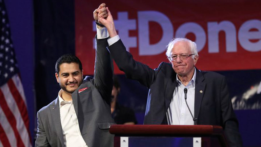 Sanders campaigns for then-Michigan gubernatorial candidate Abdul El-Sayed last August in Detroit. El-Sayed, who lost the Democratic primary in the governor's race, hasn't yet endorsed in the party's 2020 presidential race, but he praises Sanders' long-standing commitment to Medicare for All.