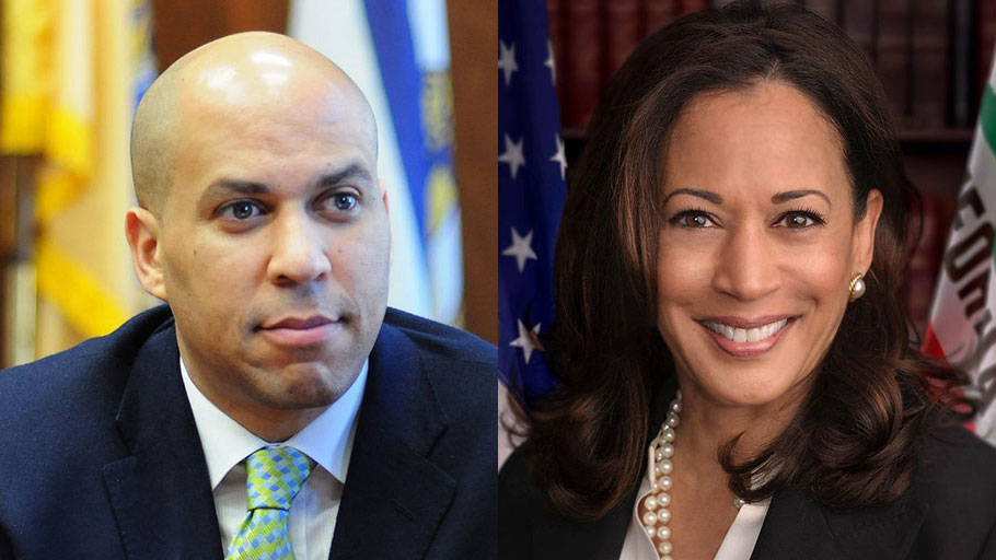 Cory Booker and Kamala Harris