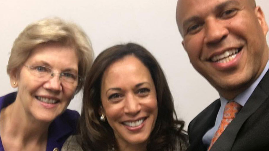 Cory Booker, Kamala Harris and Elizabeth Warren