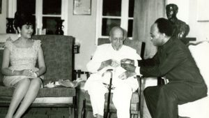 Kwame Nkrumah presenting W. E. B. Du Bois with gift on his 95th birthday, February 23, 1963 in Ghana