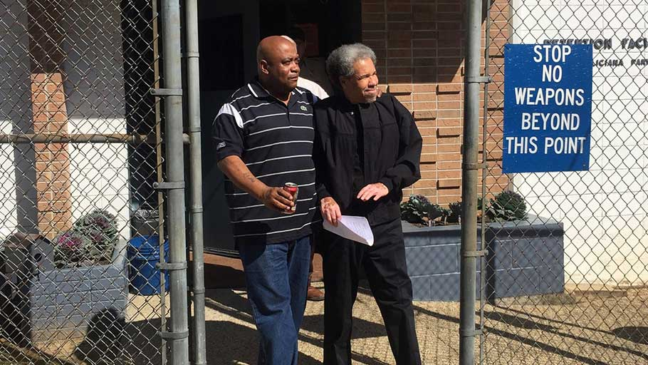 Albert Woodfox accompanied by his brother Michael Mable on his release from prison.