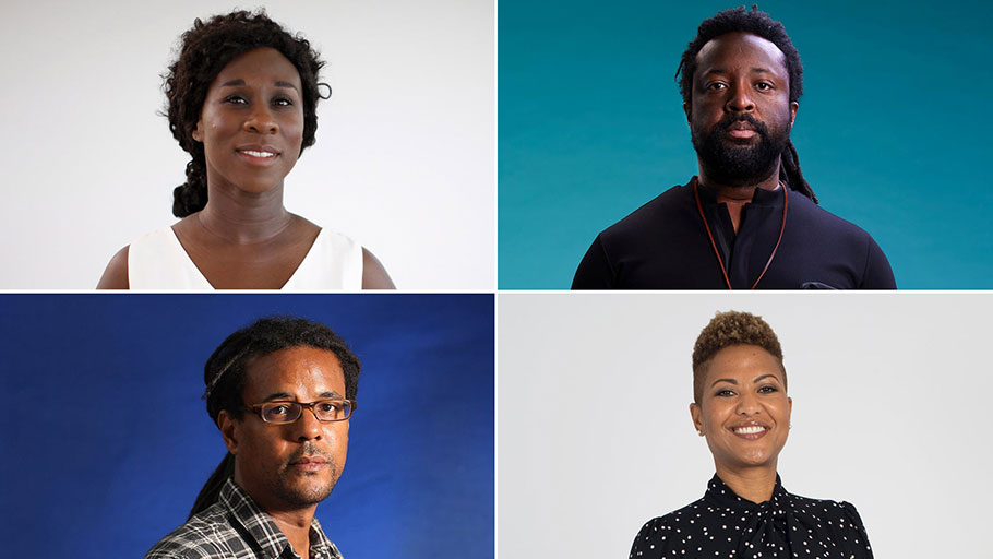 Urgent voices … clockwise from top left: Esi Edugyan, Marlon James, Colson Whitehead and Sara Collins.