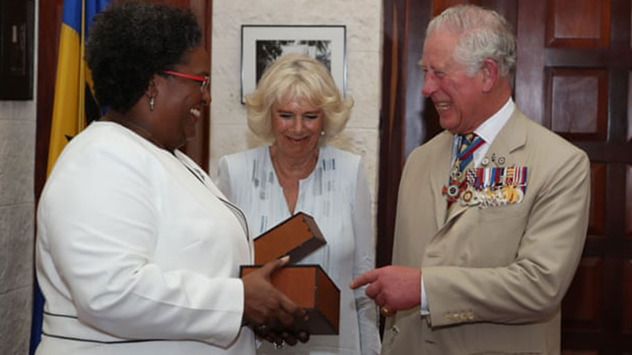 Prince Charles and Camilla Duchess of Cornwall with Mia Mottley, the prime minister of Barbados, 19 March 2019.