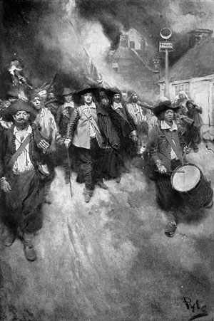 This 1905 painting by Howard Pyle depicts the burning of Jamestown in 1676 by black and white rebels led by Nathaniel Bacon.