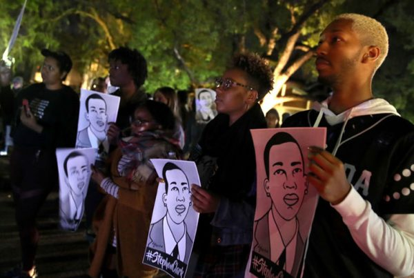 Black Lives Matter protesters march through the streets as they demonstrate the decision by Sacramento District Attorney to not charge the Sacramento police officers who shot and killed Stephon Clark last year, on March 4, 2019, in Sacramento, California.