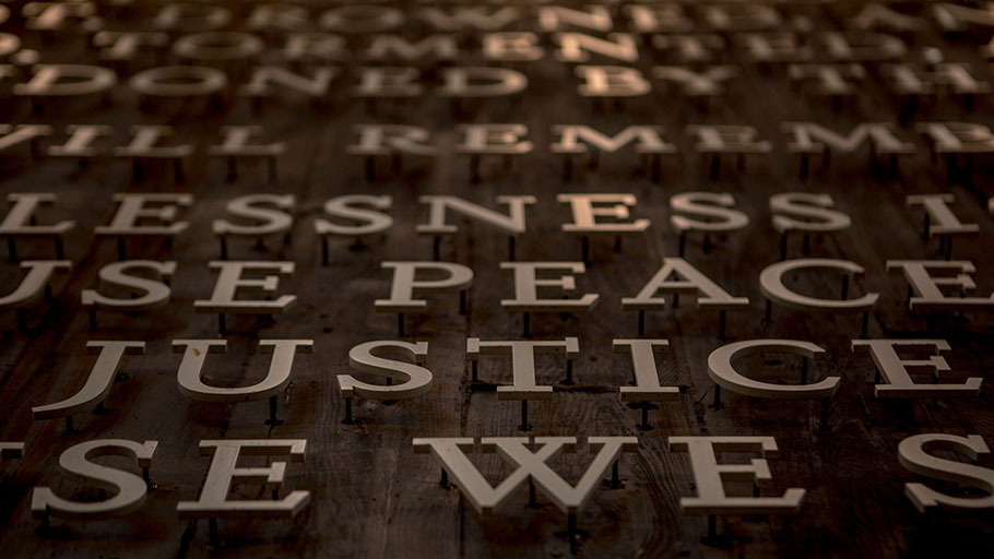 A detail from a display at the National Memorial for Peace and Justice in Montgomery, Ala.