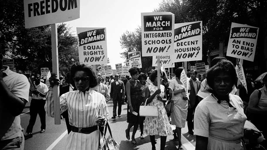 African Americans protest for equal rights during the March on Washington for Jobs and Freedom on August 28, 1963.